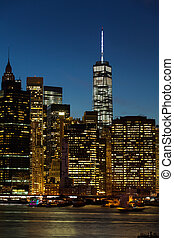 cidade nova iorque, noturna, vista
