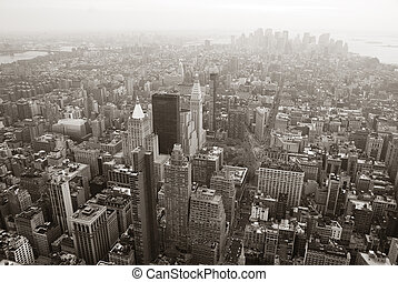 cidade nova iorque, skyline manhattan, vista aérea, preto branco