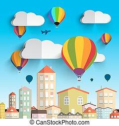cidade, nuvens, ilustração, ar, casas, quentes, vetorial, balões
