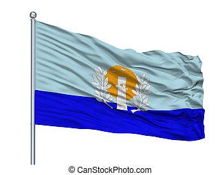 cidade, oblast, isolado, ucrânia, bandeira, mastro, fundo,...