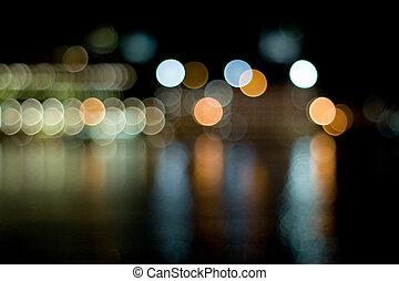 cidade, obscurecido, luzes