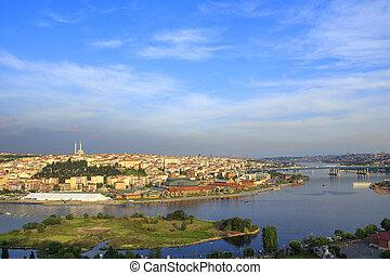 cidade, observação, istambul, verão, plataforma, pôr do sol, vista