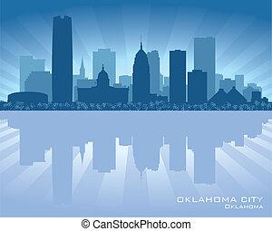 cidade, oklahoma, silueta, skyline