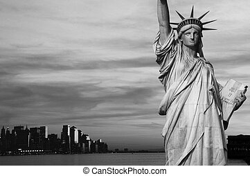 cidade, olá, pretas, york, novo, branca, contraste