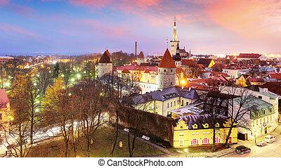 cidade, olaf's, aéreo, medieval, estónia, cidade, st., wall., tallinn, tallinn, igreja, antigas, vista
