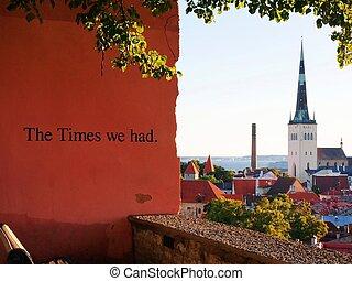 cidade, olaf's, antigas, st, tallinn, igreja, torre, anciant, vista