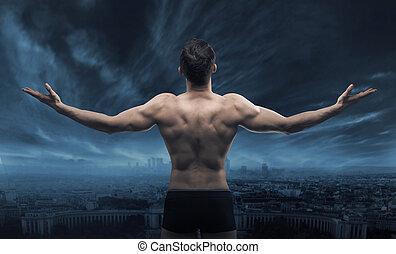 cidade, olhar, muscular, homem