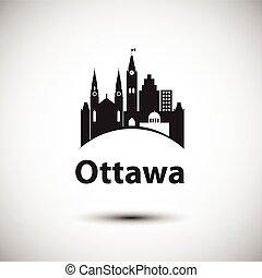 cidade, ontário, marcos, ottawa, skyline, vetorial, canada.