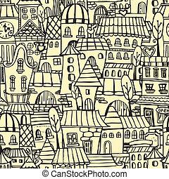 cidade, padrão, caricatura, seamless