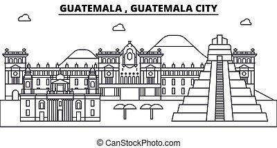 cidade, paisagem, esboço, edifícios, strokes., editable, ...