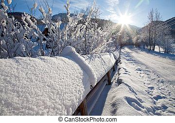 cidade, paisagem inverno, outskirts