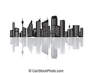 cidade, paisagem, silhuetas, de, casas, pretas