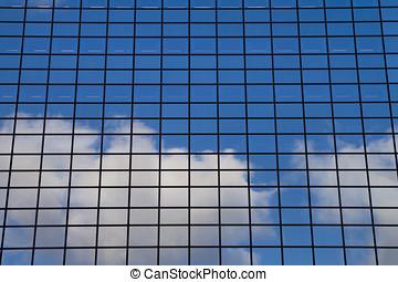cidade, paisagem, -, vista, ligado, vidro, arranha-céus, com, refletido, céu, em, windows
