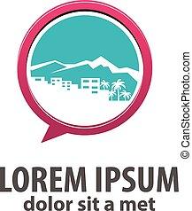 cidade, palma, silueta, logotipo