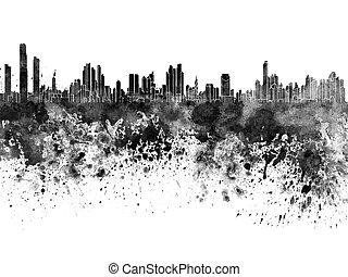 cidade, panamá, aquarela, skyline, experiência preta, branca