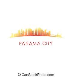 cidade, panamá, skyline, silhouette.