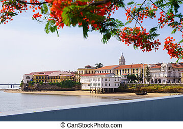 cidade panamá, vista, antigas, casco, viejo, antiguo