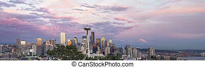 cidade, panorama, centro cidade, skyline, pôr do sol, seattle