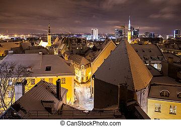 cidade, panorama, noite, antigas, tallinn