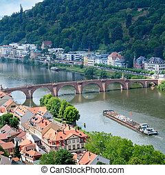 cidade, panorama, ponte