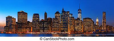 cidade, panorama, skyline, york, noturna, novo