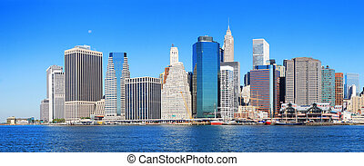 cidade, panorama, skyline, york, novo, manhattan