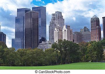 cidade,  Par,  central,  panorama,  Skyline,  York, Novo,  Manhattan, visto