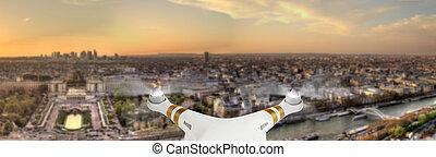 cidade, paris, panorama, voando, zangão, acima
