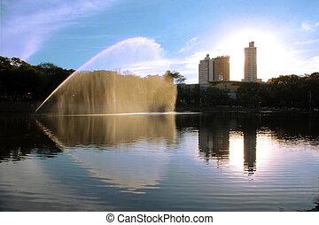 cidade, parque fonte, lago, fundo