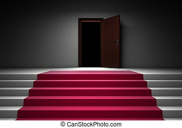 cidade, passos, corredor, tapete vermelho