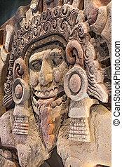 cidade, pedra, antiga, méxico, deus, aztec, estátua,...