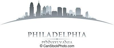 cidade, pensilvânia, filadélfia, ilustração, silhouette., skyline, vetorial