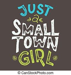 cidade pequena, menina, t-shirt