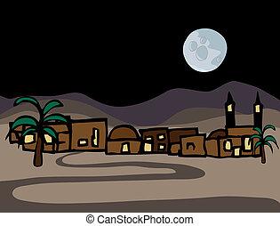 cidade, pequeno, leste, deserto