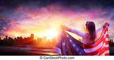 cidade, pequeno, liberdade, -, bandeira, americano, pôr do sol, menina