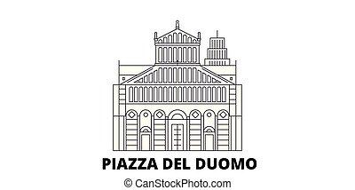 cidade, piazza, ilustração, itália, viagem, landmarks.,...