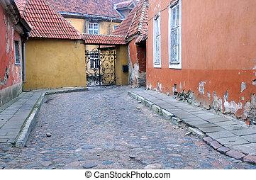 cidade, pista, antigas, medieval, tallinn