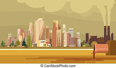 cidade, planta, cano, natureza, poluído, água, sujo, ...
