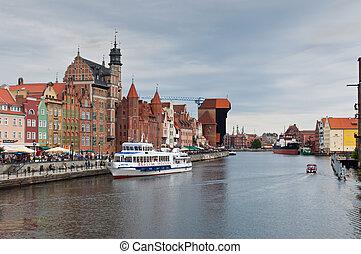 cidade, polônia, antigas, gdansk