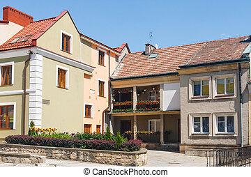 cidade, polônia, corredor, sandomierz
