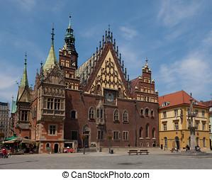 cidade, polônia, corredor, wroclaw
