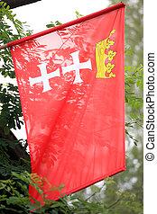 cidade, Polônia,  Gdansk, bandeira
