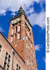 cidade, Polônia,  Gdansk, corredor, torre