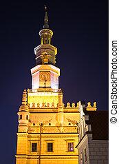 cidade, polônia, poznan, durante, noturna, corredor