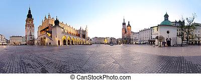 cidade, polônia, quadrado, krak?w