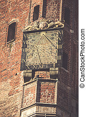 cidade, Polônia,  -,  Sundial,  Gdansk, corredor