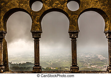 cidade, portugal, palácio, janelas, arco, sintra, pena, abertos, vista