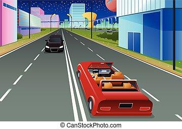 cidade, próprio, futurista, dirigindo, car