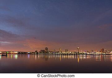 cidade, praia, longo, luzes