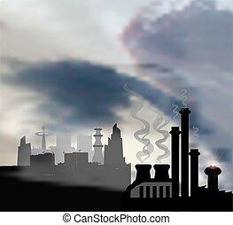cidade, primeiro plano, modernos, fábrica, escuro, panorâmico, químico, paisagem